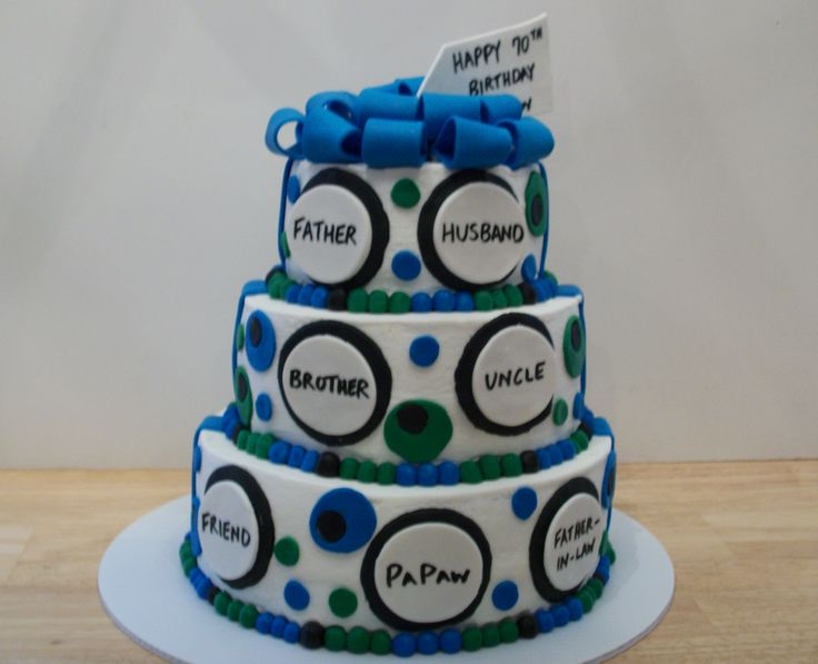 70th Birthday Cake White Cake With Buttercream Icing And