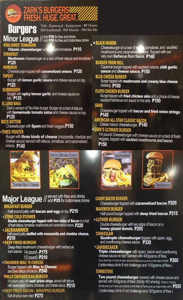 zarksburgermenus Cebu Food & Restaurants Pinterest