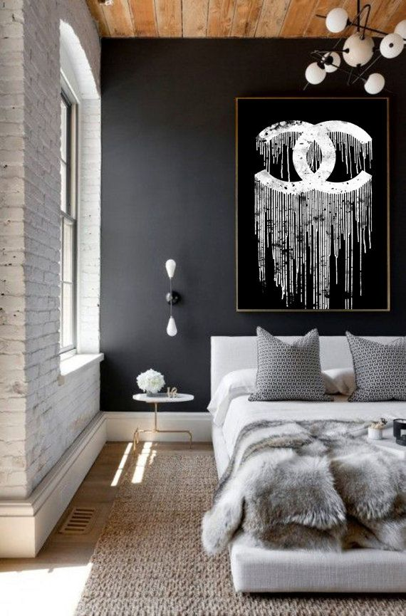 Chanel Dripping 2 Art Print Poster Black And White Coco Liquidated Logo Room Decor