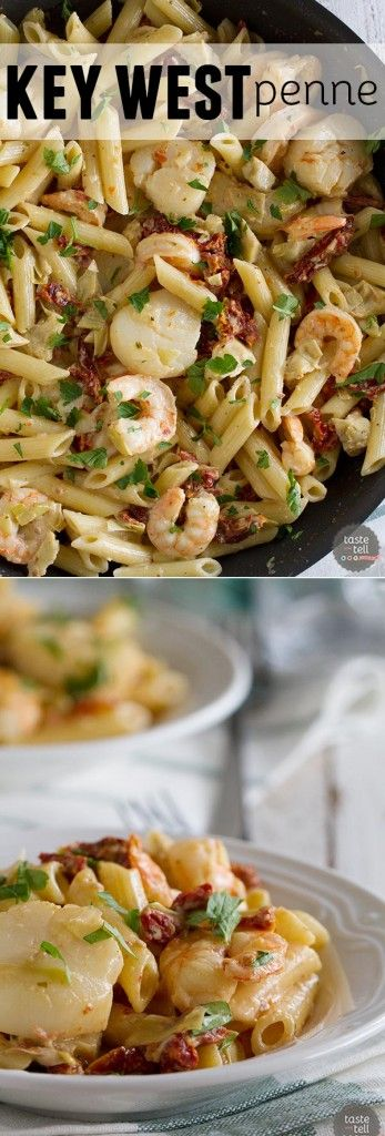 Restaurant quality food at home! This Key West Penne is filled with shrimp, scallops, sun-dried tomatoes and artichoke hearts in a