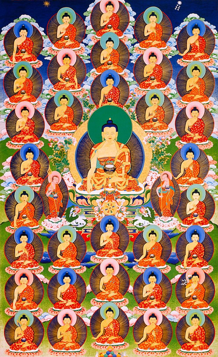 Thangka Of 35 Buddhas The 35 Buddhas Are Known From The