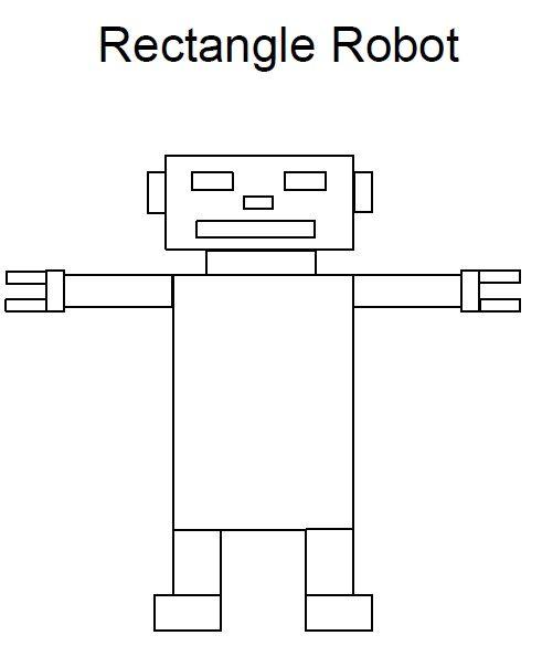 Rectangle Worksheet Robot Preschool