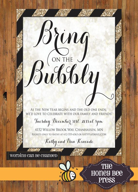 Bring On The Bubbly New Years Eve Party Invitation By