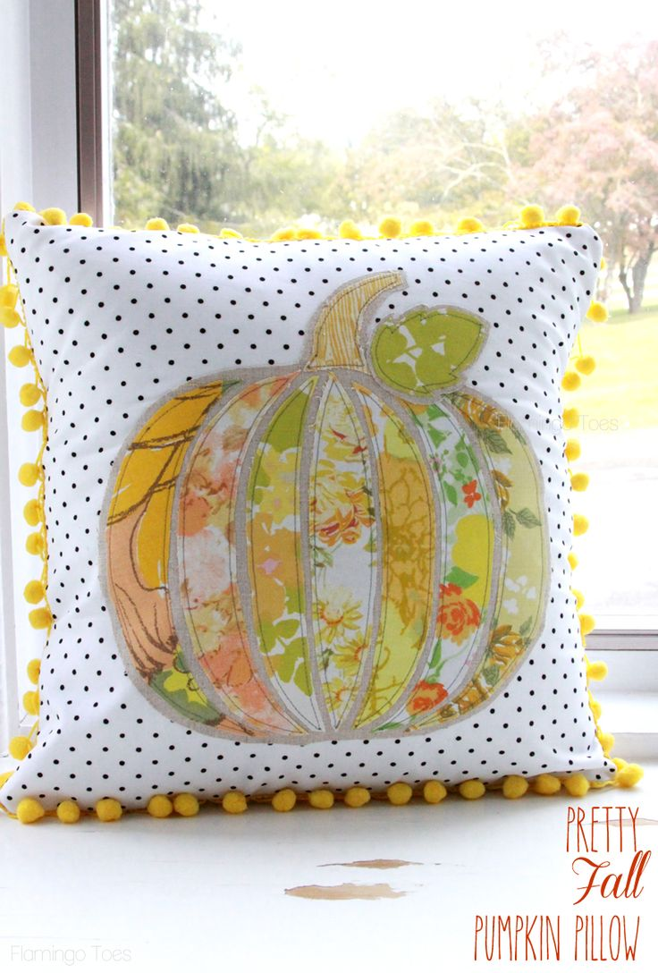Vintage Pumpkin Fall Pillow. If you sew the front and back together all the way around and stuff it instead of making it an envelope, you're set for the fair!:
