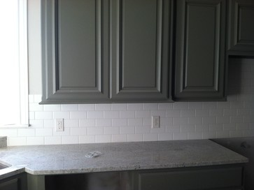 Off White Matte 3x6 Subway Tile Dark Greengray Cabinets