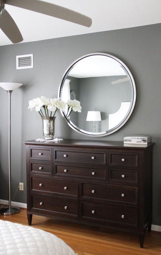 Paint Color Amherst Grey Benjamin Moore Beautiful Wall I Like The Dark Brown Furniture Bedroomliving