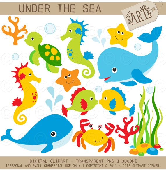 Clipart Under the Sea (1) / Dolphin / Whale Digital