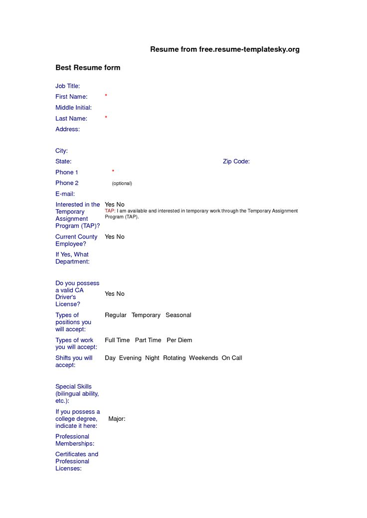 blank resume format free download resume resume form and resume