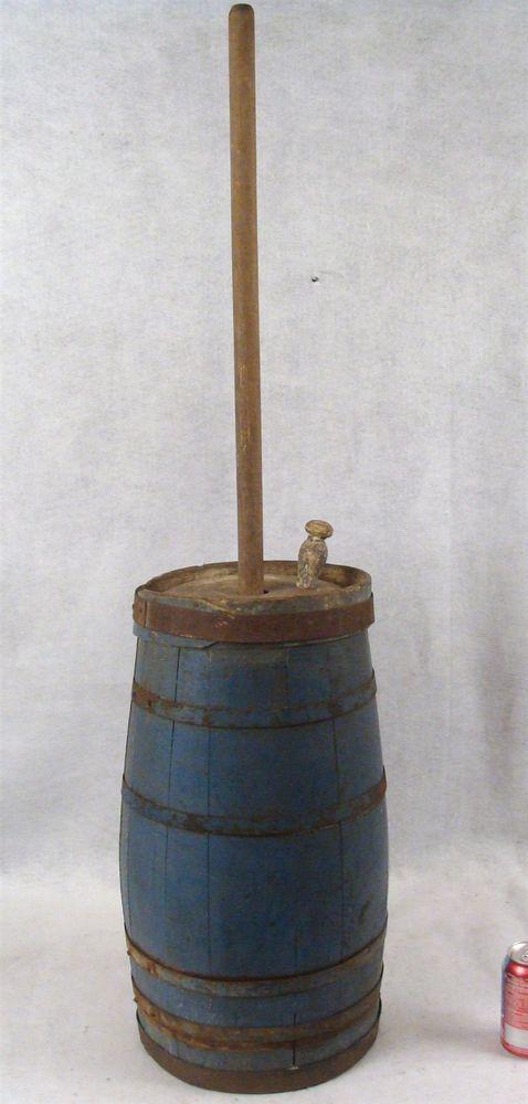 Antique Primitive 1860 70 Shaker Blue Painted Wooden 22