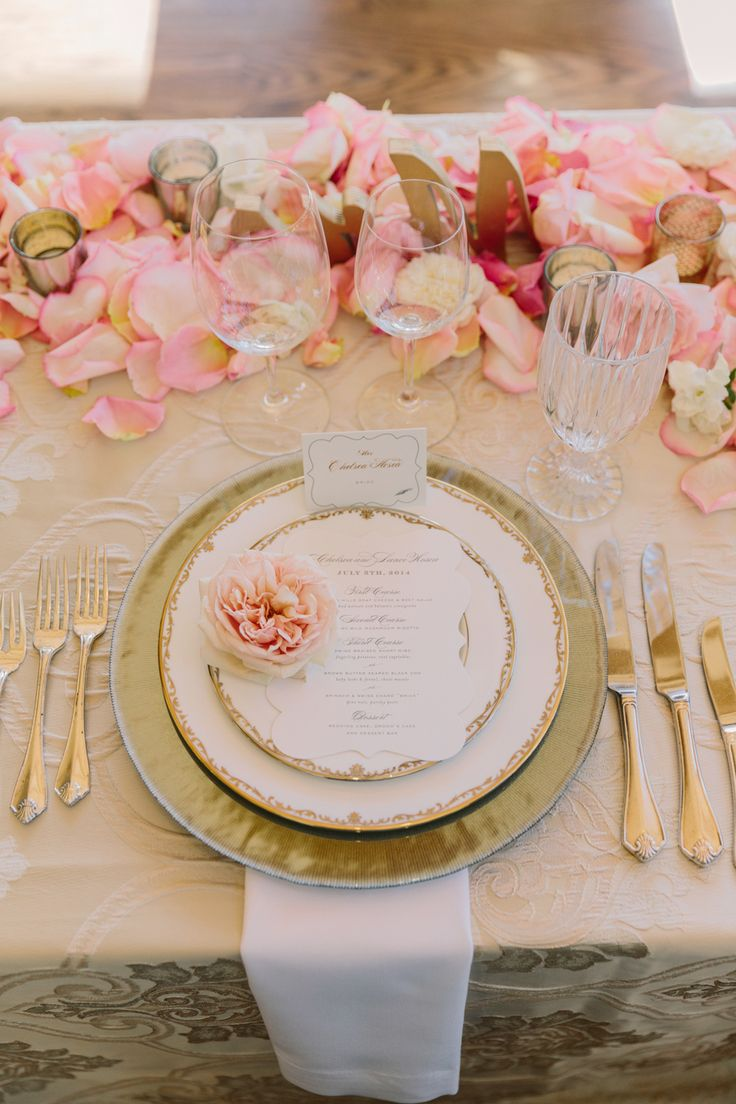 Pink And Gold Place Setting Head Tables Brides And