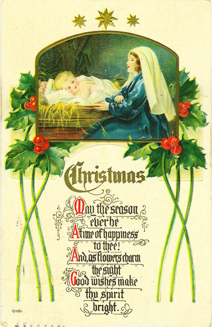 Christmas vintage postcard ephemera Jesus holy