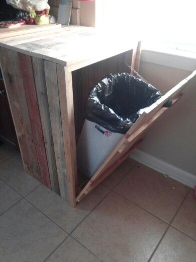 Hide A Way Trash Canmade From Old Pallets Home Plans