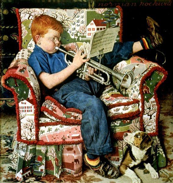 Trumpet Practice – Norman Rockwell