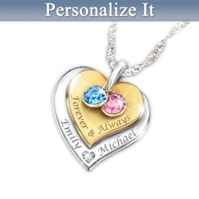 Womens Necklace Forever Amp Always Personalized Diamond