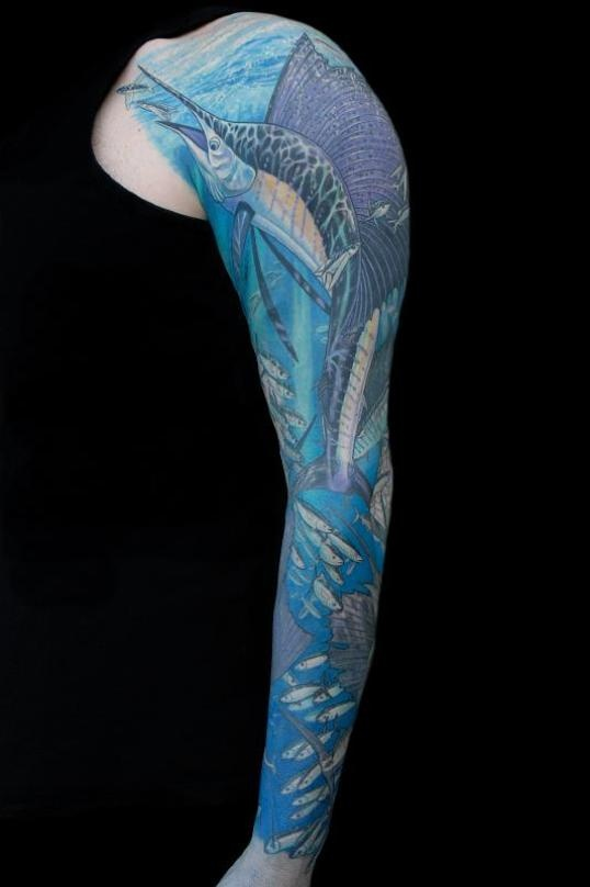 Marlin Sleeve By Deano Cook Tattoos Ocean Life And Fish