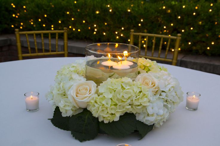 Hydrangeas/roses Wreath And Candle Centerpiece ... Cherco