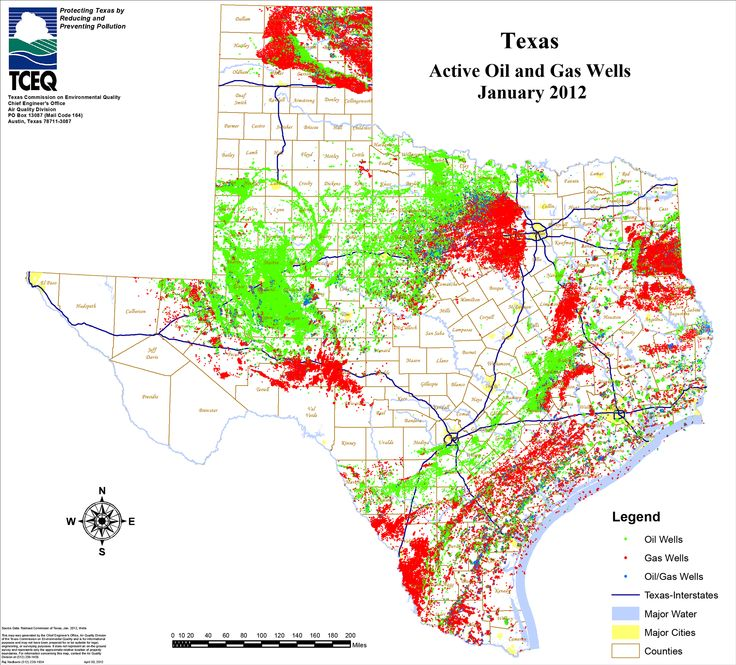 map of gas wells in Texas Miscellaneous Shale