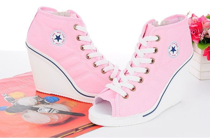 High Heel Sneakers Shoes Women Wedge High Heels Sneakers