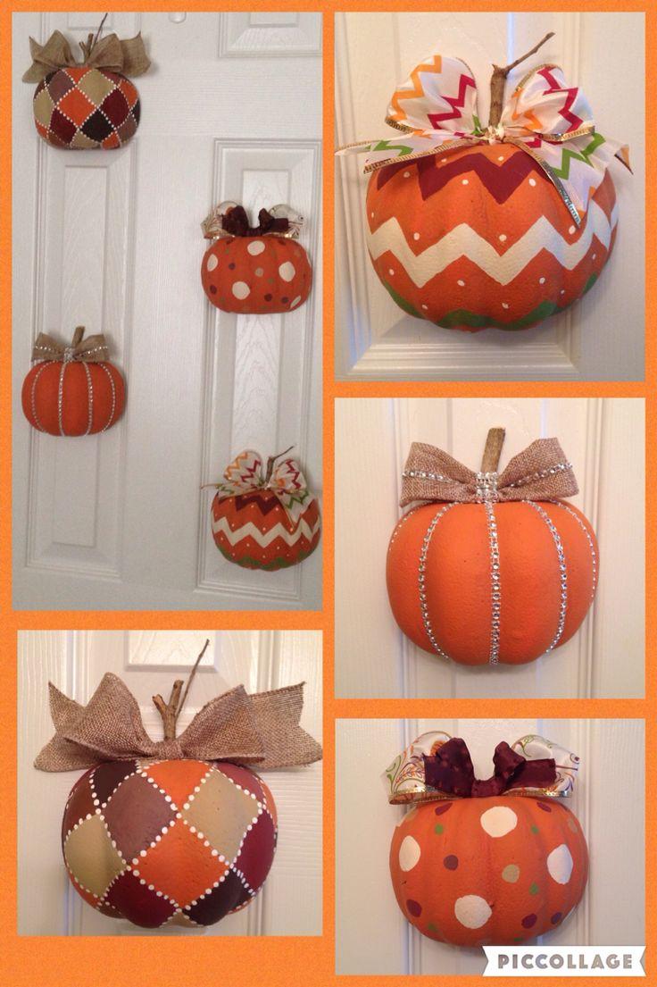 Made pumpkin door display using dollar tree pumpkins