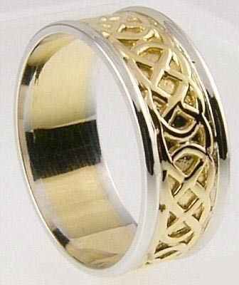 Mens 10K14K18K Two Tone Yellow Amp White Gold Celtic