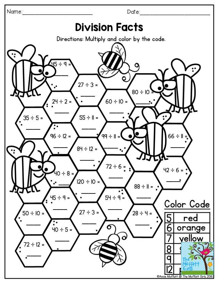Division Facts Multiply and color by code