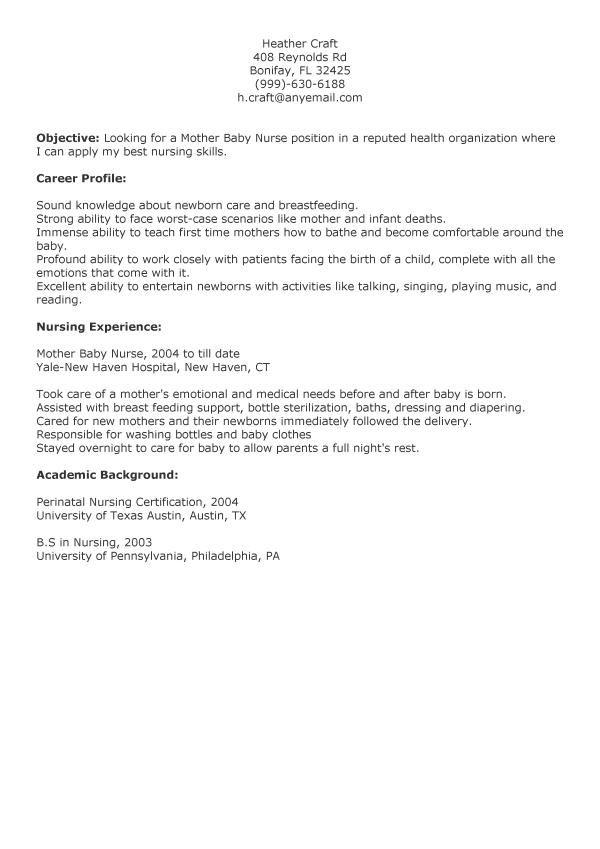 Mother Baby Registered Nurse Resume. 1000 images about nursing amp ...