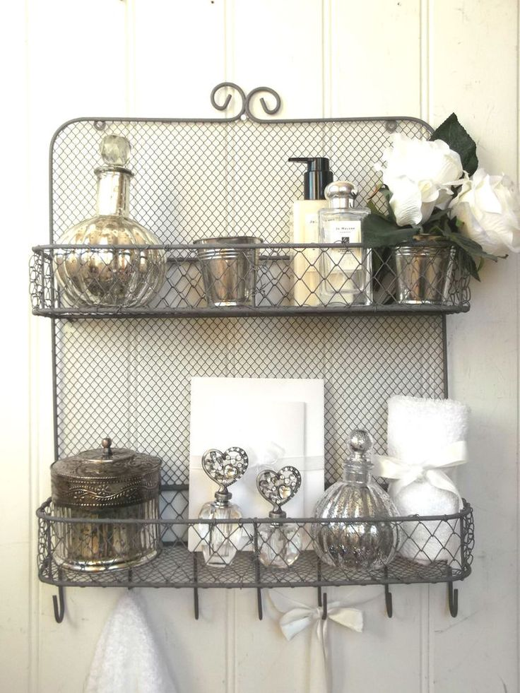 Details About Shabby Chic Vintage Metal Wall Shelf Unit