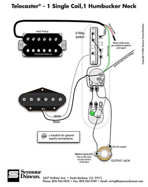 Tele Wiring Diagram  1 single coil, 1 neck humbucker My