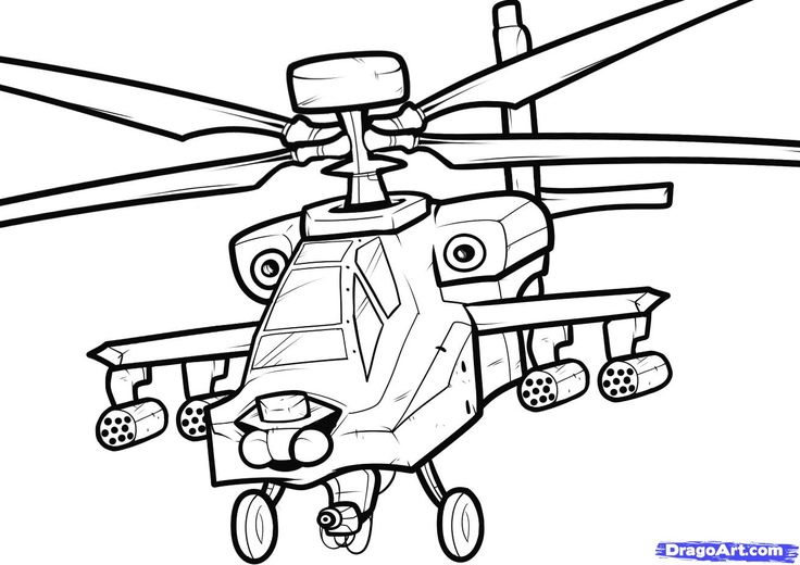 pictures of to how to draw an apache apache helicopter