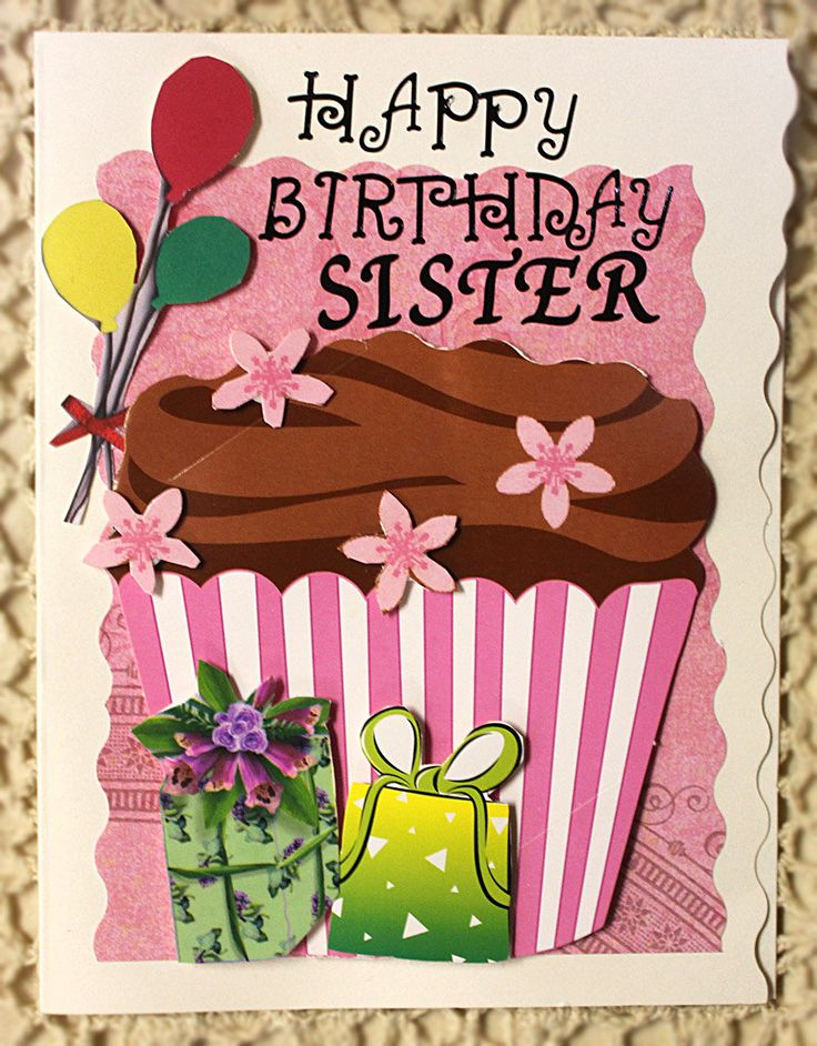 Happy Birthday Sister Card. 9.00, via Etsy. Lenas