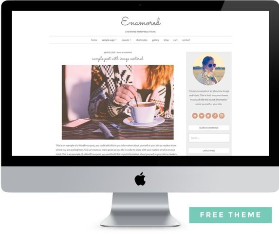 Enamored Free Feminine WordPress Theme: