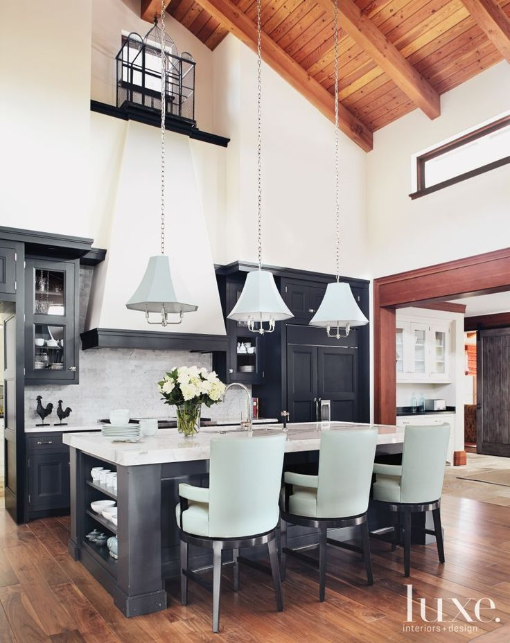 White And Black Transitional Kitchen With Pale Blue
