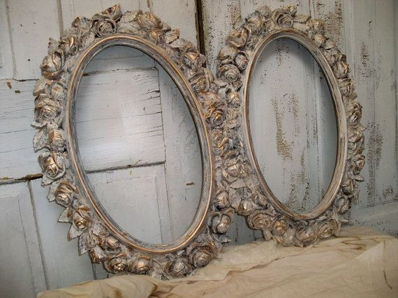 Large Oval Frame Set Grouping Shabby Chic Distressed White