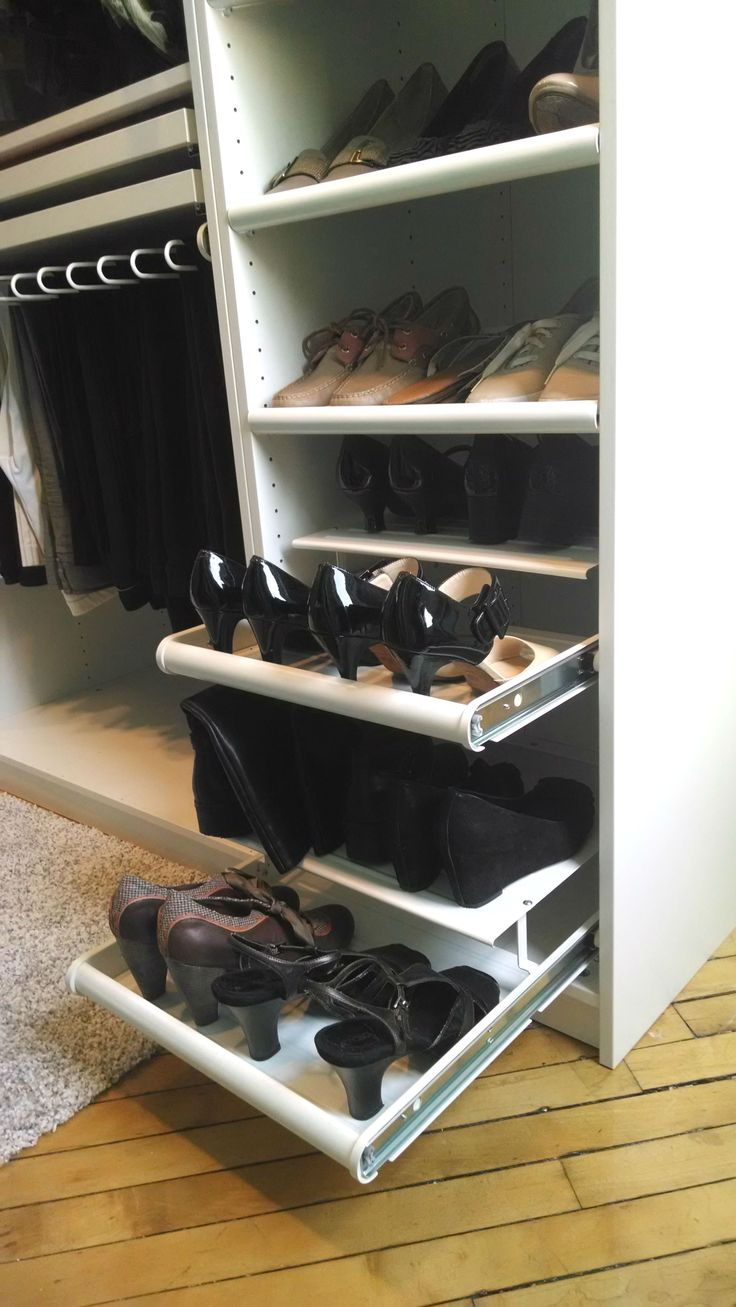 Closet Organizer With Pull Out Shoe Rack Home Decor
