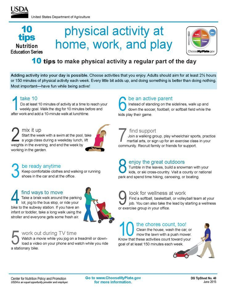 10 Tips Physical Activity at Home, Work, and Play.