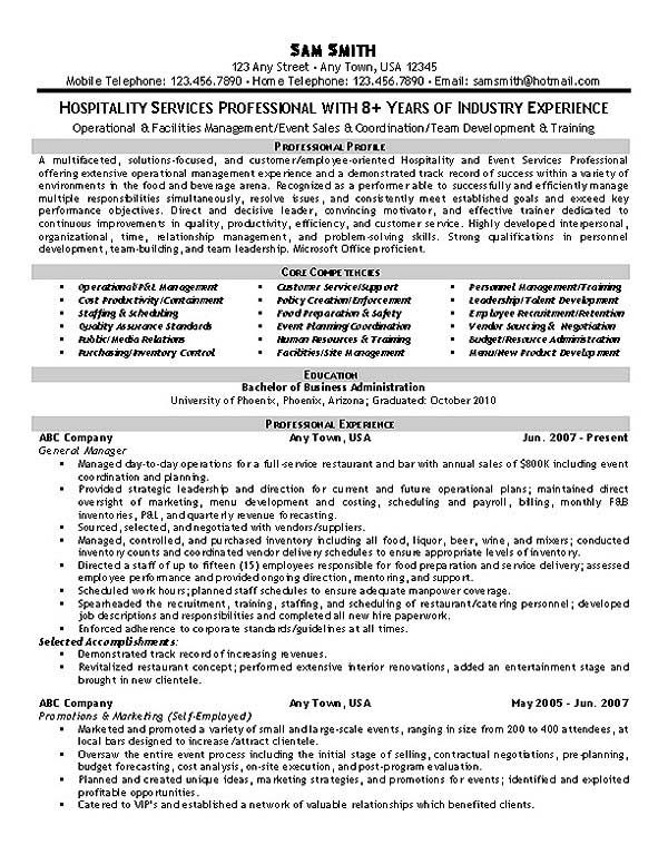 Hospitality Resume Example Studentcentered resources