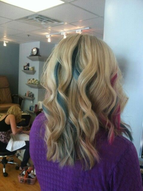 My Blond Hair With Teal And Pink Peek A Boo Highlights I