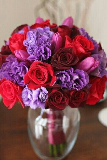 Lavender And Red Rose Bouquet Wwwimgkidcom The Image
