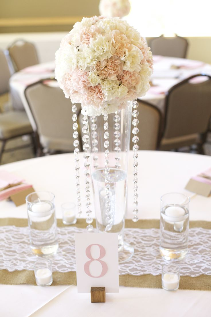 Wedding Reception Tables Blush And Cream Color Theme