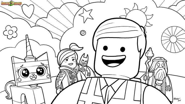 Coloring page of the lego movie cast including emmet