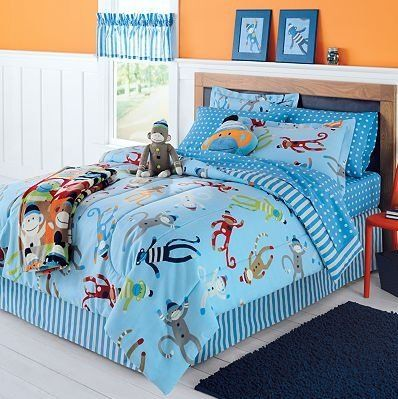 Sock Monkey Complete 6 Piece Bedding Set Twin From