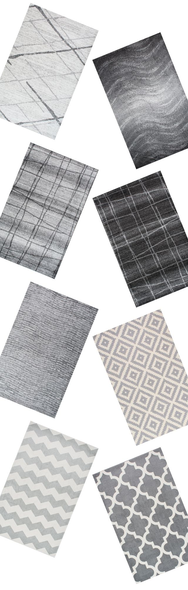 Grey on grey. Super modern and so cool. Visit Rugs USA for stylish options and a wide variety of colors, weaves, and textures with