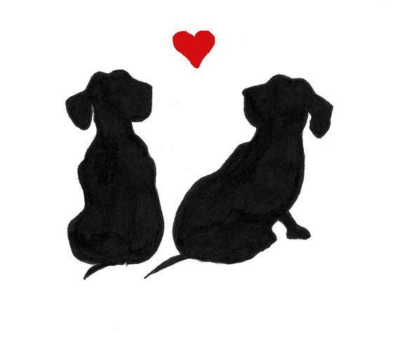 Dachshund Note Cards Heart Love Wiener Dogs Pet Door