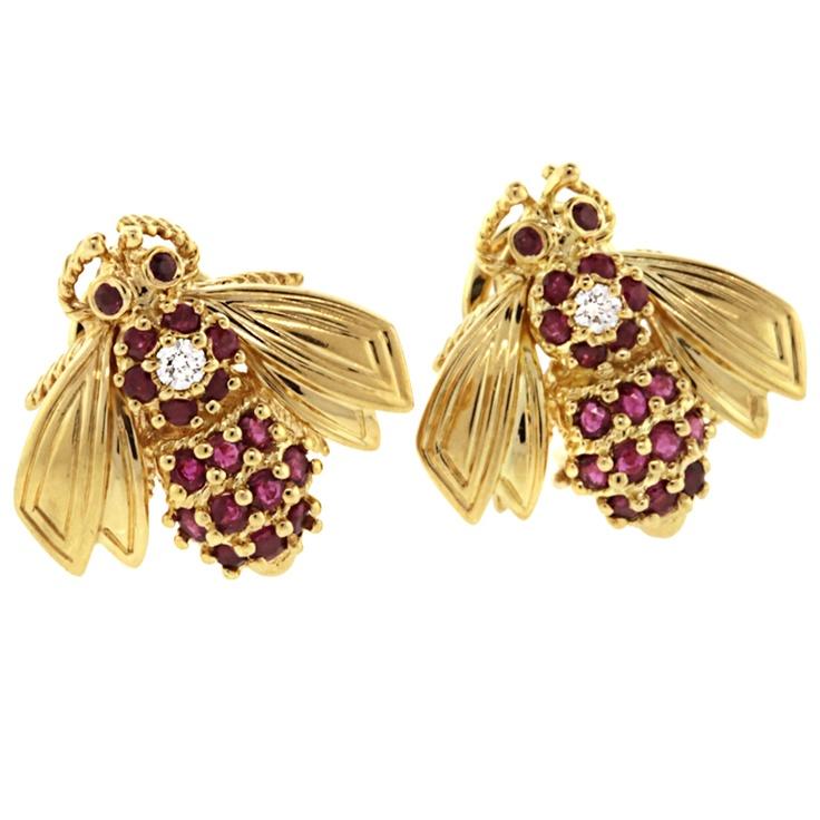TIFFANY Co. Diamond and Ruby Bee Earrings