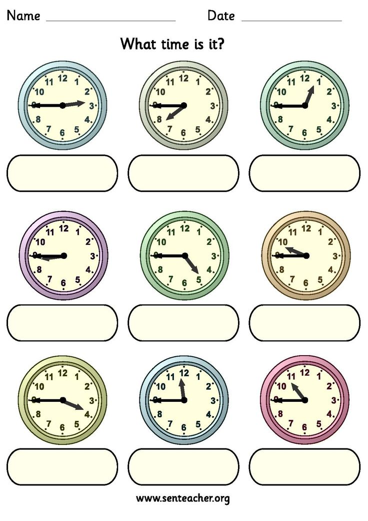 Worksheet containing 9 analogue clocks showing quarter to