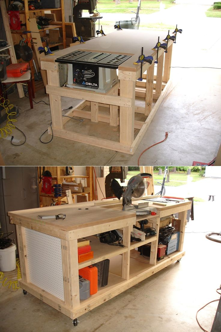 DIY Ultimate Workbench ( Table Saw and Outfeed / Chop Saw
