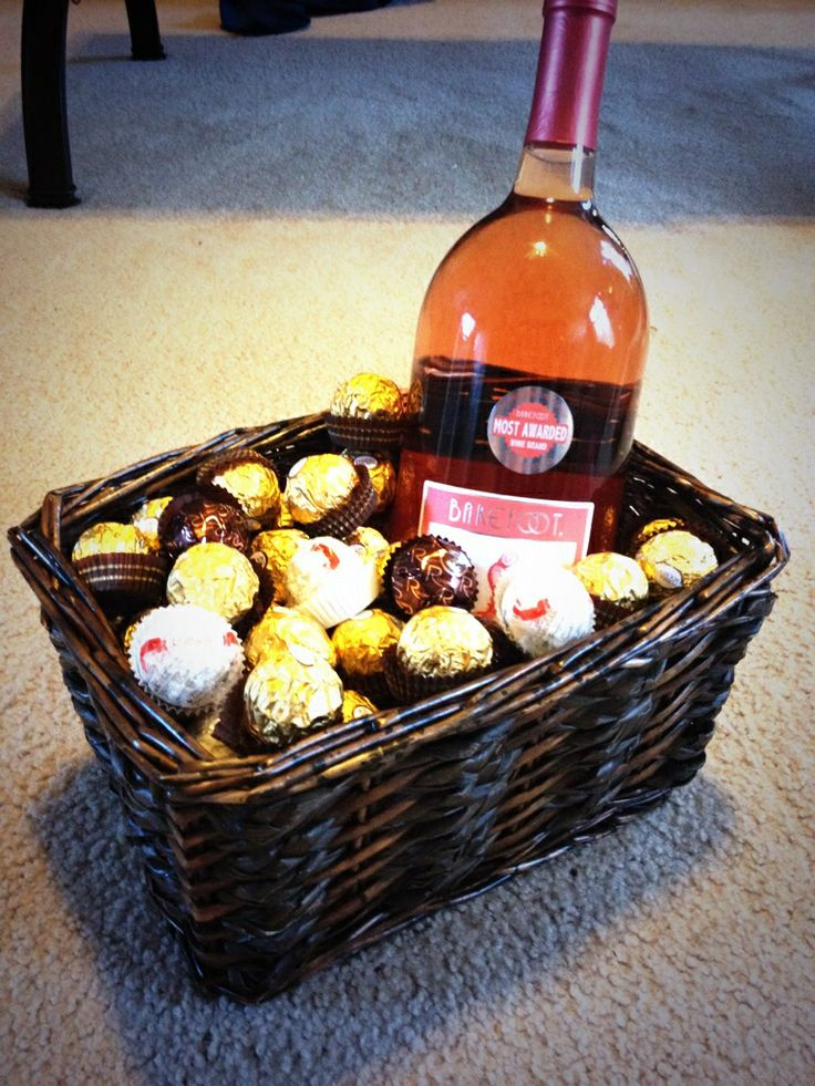 Birthday basket; Wine & Chocolates Diy Gift ideas