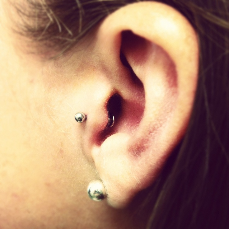 Tragus piercing; good point of view to see how the labret