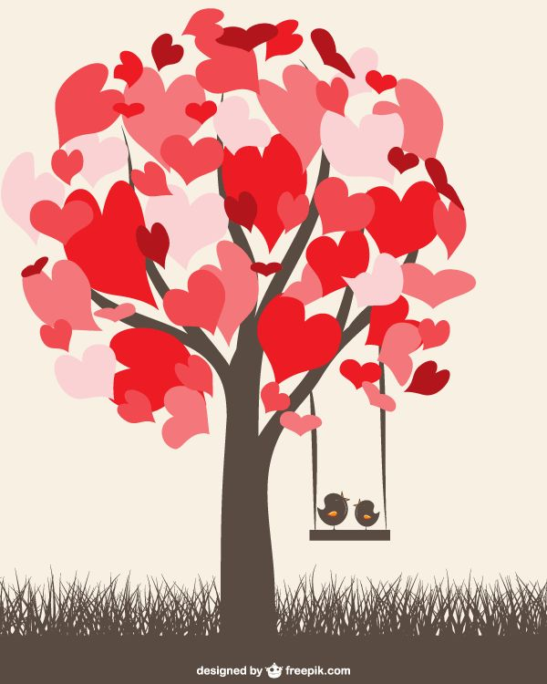 Heart Tree With Love Birds On A Swing Valentine Graphics