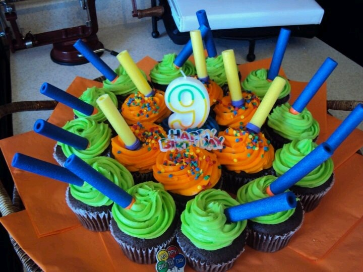 Cupcakes From Walmart With Nerf Darts Birthday Ideas